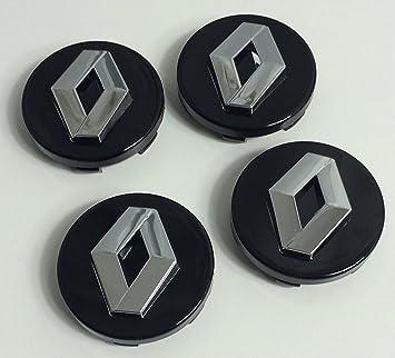 4 centros de rueda Renault 57 mm negro y cromado Cache moyeux sigla Logo Emblema espacio