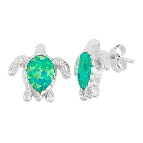 Sterling Silver Created Opal Turtle Stud Earrings