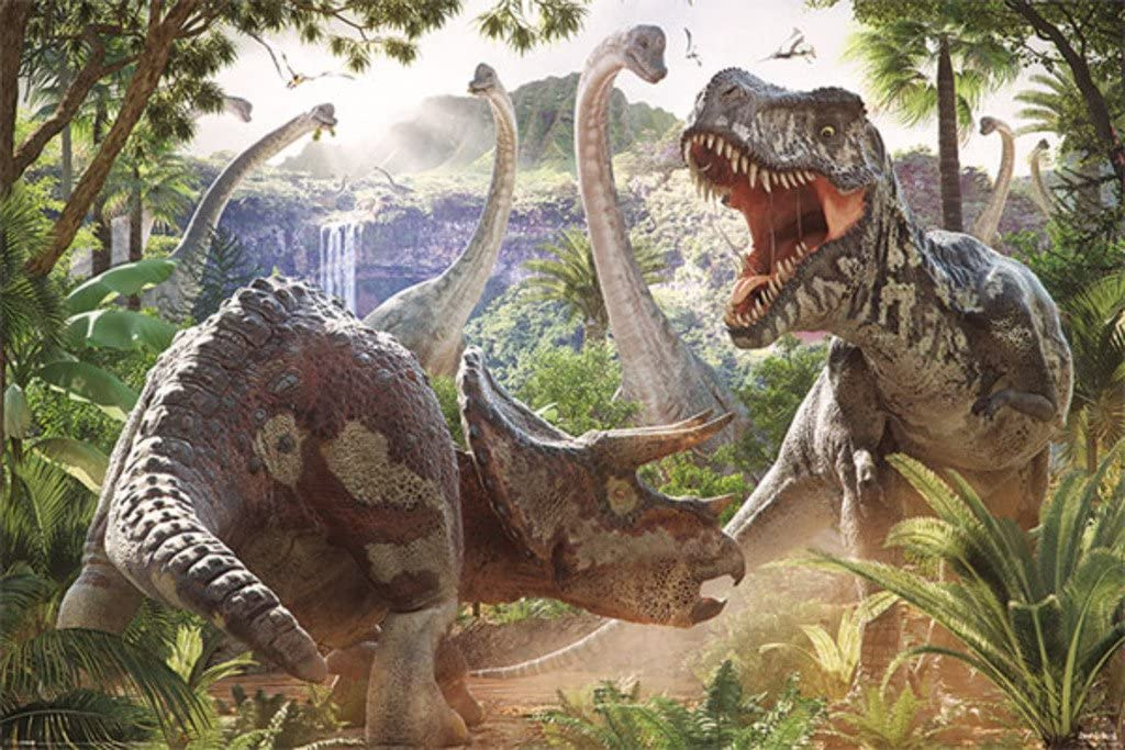 Framed Print Picture Poster Dinosaur Art T-Rex Battling in the Rainforest