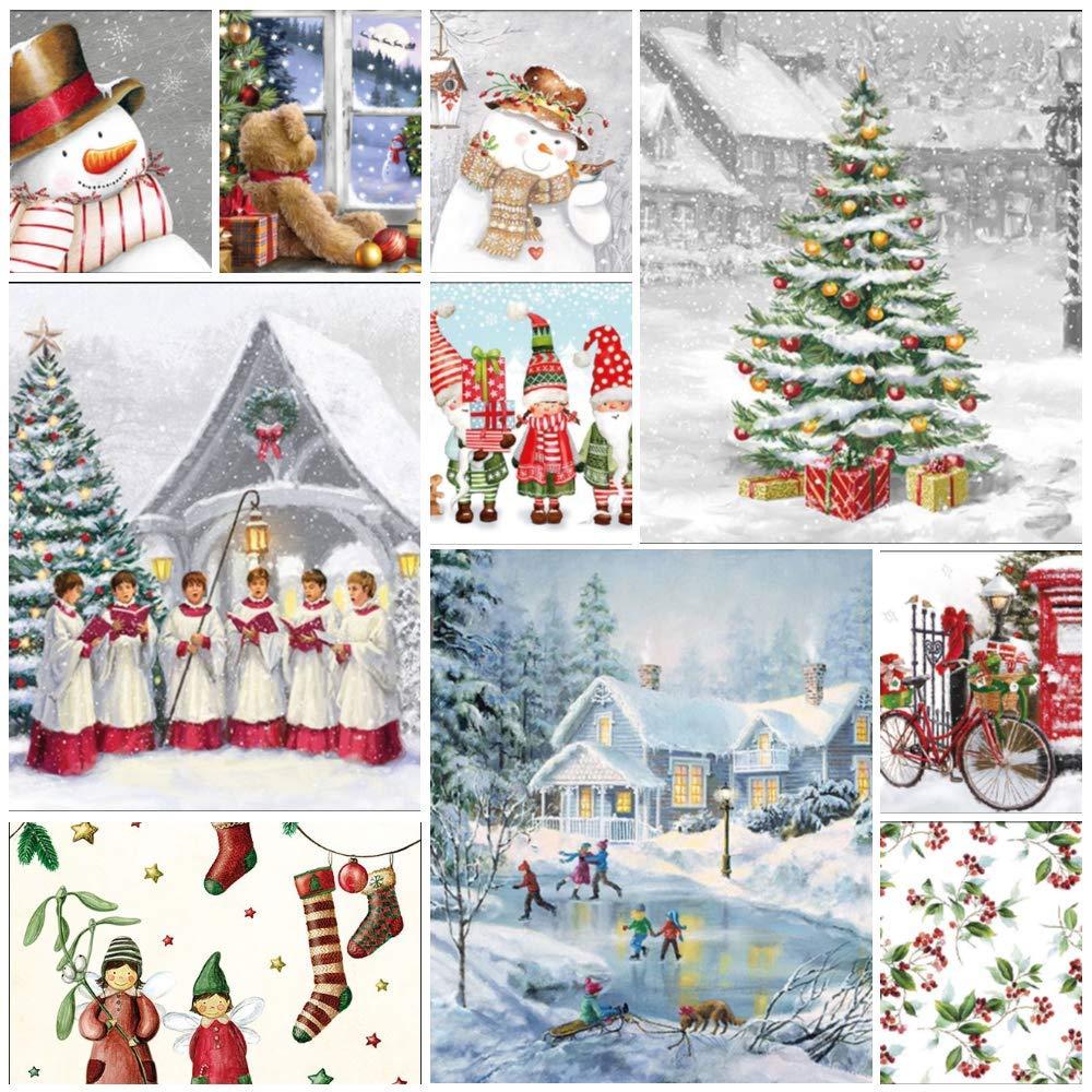 Artigianato carte 50 tovaglioli natalizi per decoupage Confezione da 50 tovaglioli di carta d/écoupage di ogni disegno mostrato diario Junk