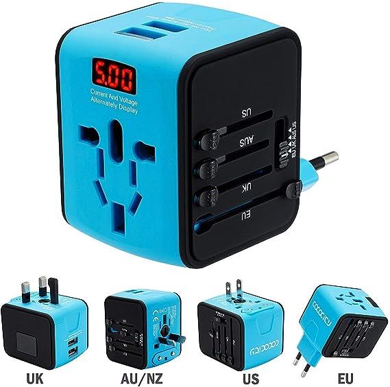 FEIGO Adaptador Enchufe de Viaje Universal Dos Puertos USB ...