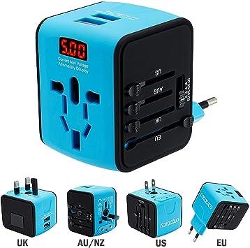 FEIGO Adaptador Enchufe de Viaje Universal Dos Puertos USB Cargador Internacional con MAX 2.4A para US EU UK AU Japon Asia África Más de 150 Países y Seguridad de Fusibles (Azul): Amazon.es: