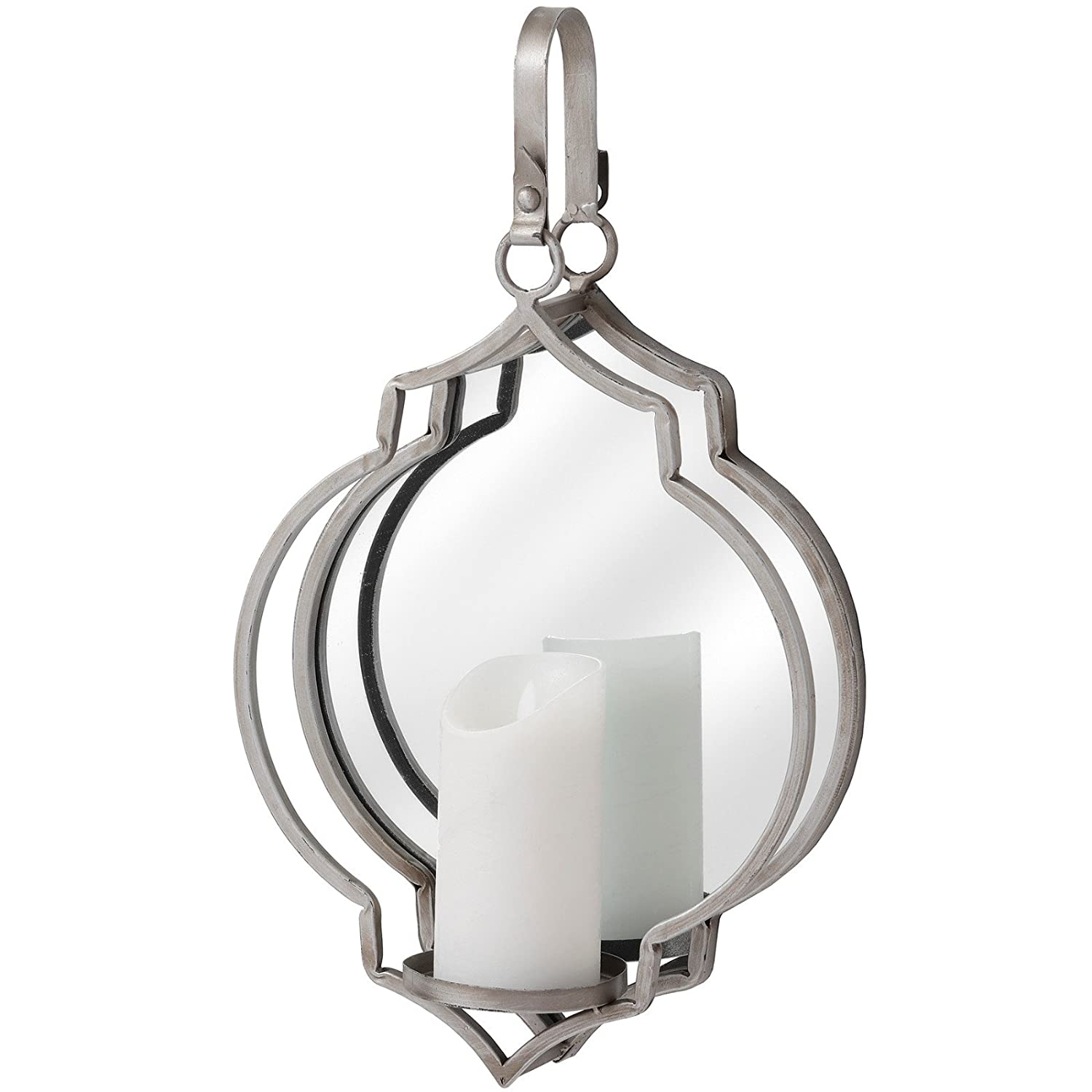 LHI Solid Distressed Modern Silver Wall Sconce Candle Holder w Mirror Wall Mounted 47.5cm