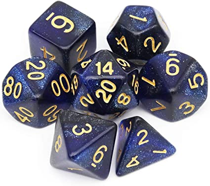 5 Silver and Blue Pearlized 16mm Premium Dice