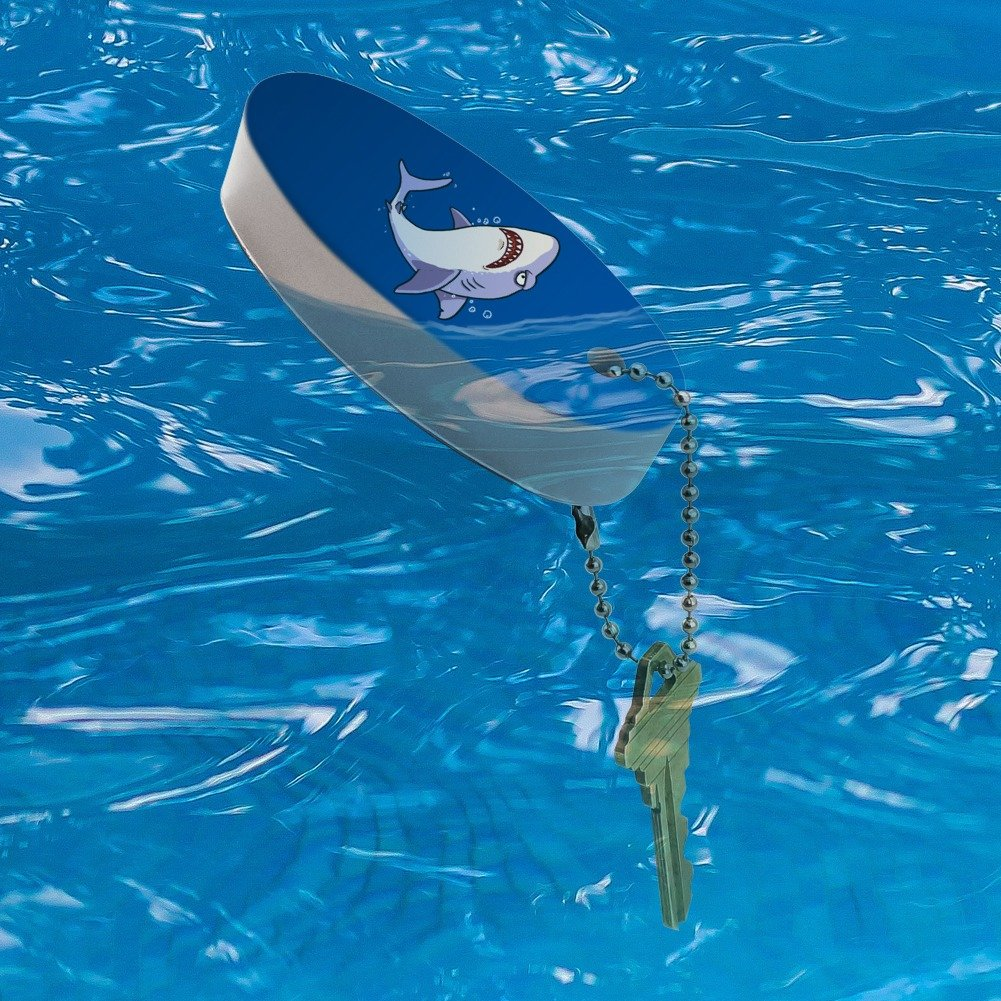 Graphics and More Great White Shark Cartoon in Ocean Floating Foam Keychain Fishing Boat Buoy Key Float GRAPHICS /& MORE