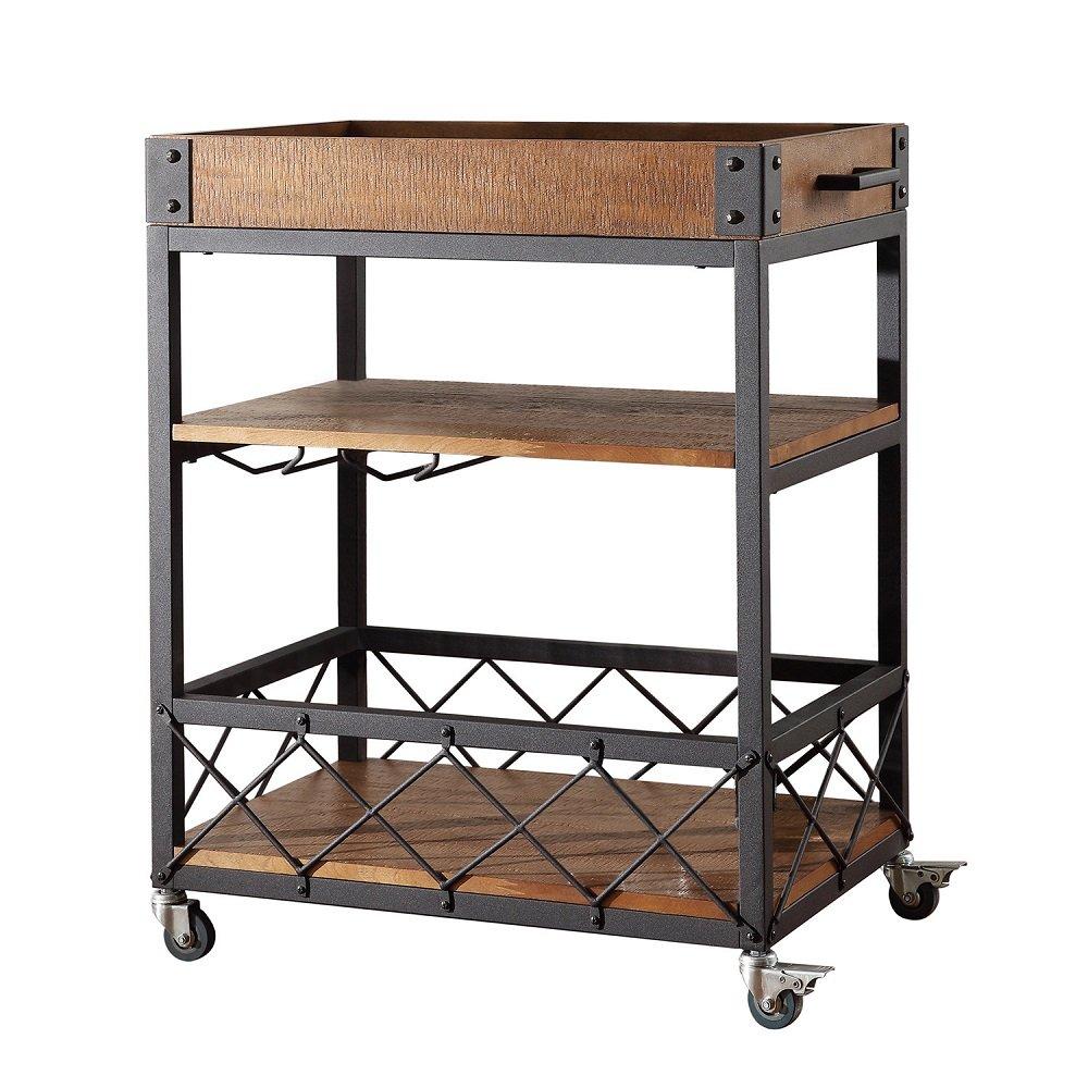 Amazon.com - TRIBECCA HOME Myra Rustic Mobile Kitchen Bar Serving Cart -  Bar & Serving Carts