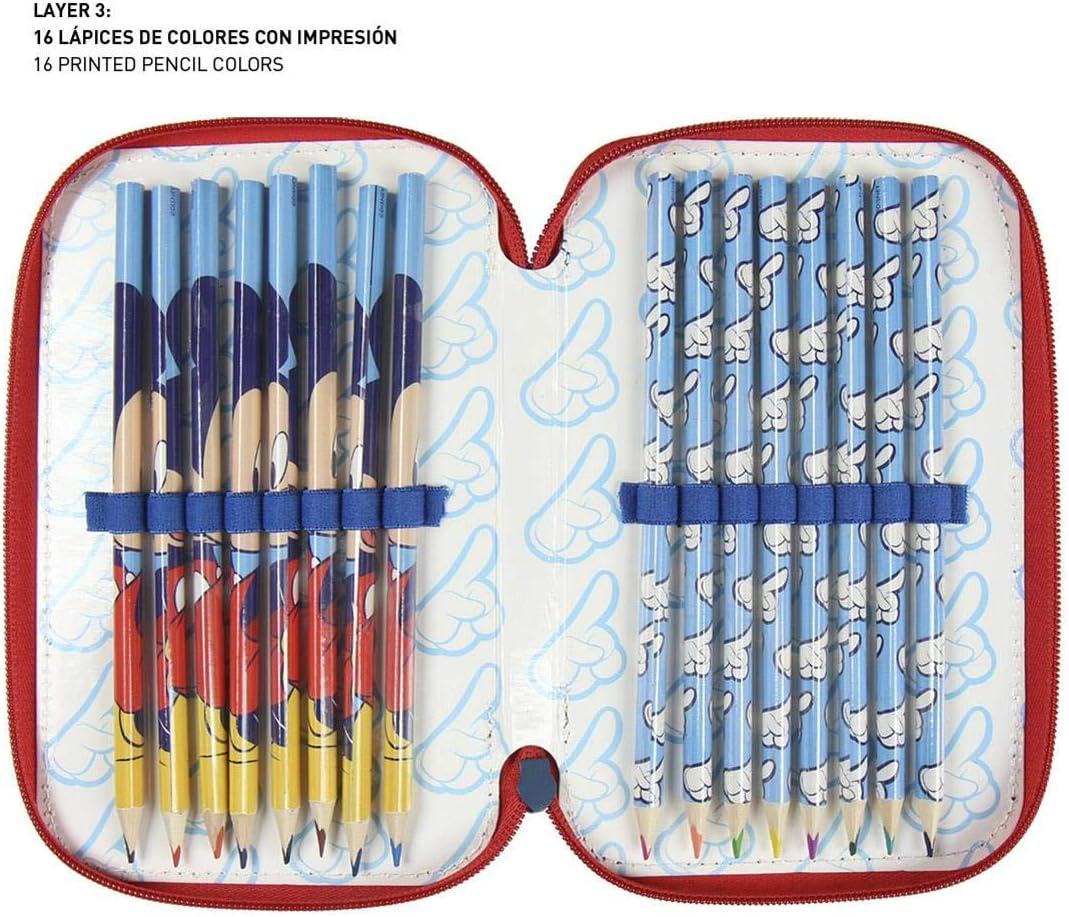 3 ripiani motivo Topolino Astuccio artigianale in setola di alta qualit/à 43 pezzi con cerniera tripla