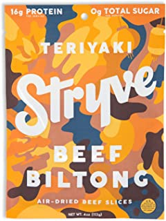 product image for Stryve Biltong, Beef Jerky without the Junky. 16g Protein, Sugar Free, No Carbs, No Nitrates, No MSG, No Preservatives. Keto and Paleo Friendly. Teriyaki, 4oz