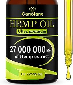 Hemp Oil Drops, 27 000 000 mg, Natural CO2 Extracted, 100% Organic, Pain, Stress, Anxiety Relief, Reduce Insomnia, Vegan Friendly, Zero CBD, Zero THC