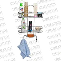 CREATICK - 3 Tier Kitchen Bathroom Shelves and Racks - Hanging Shower Head Caddy Holder - Organizers Storage for Shampoo,Soap,Perfume and Towel - Silver Chrome