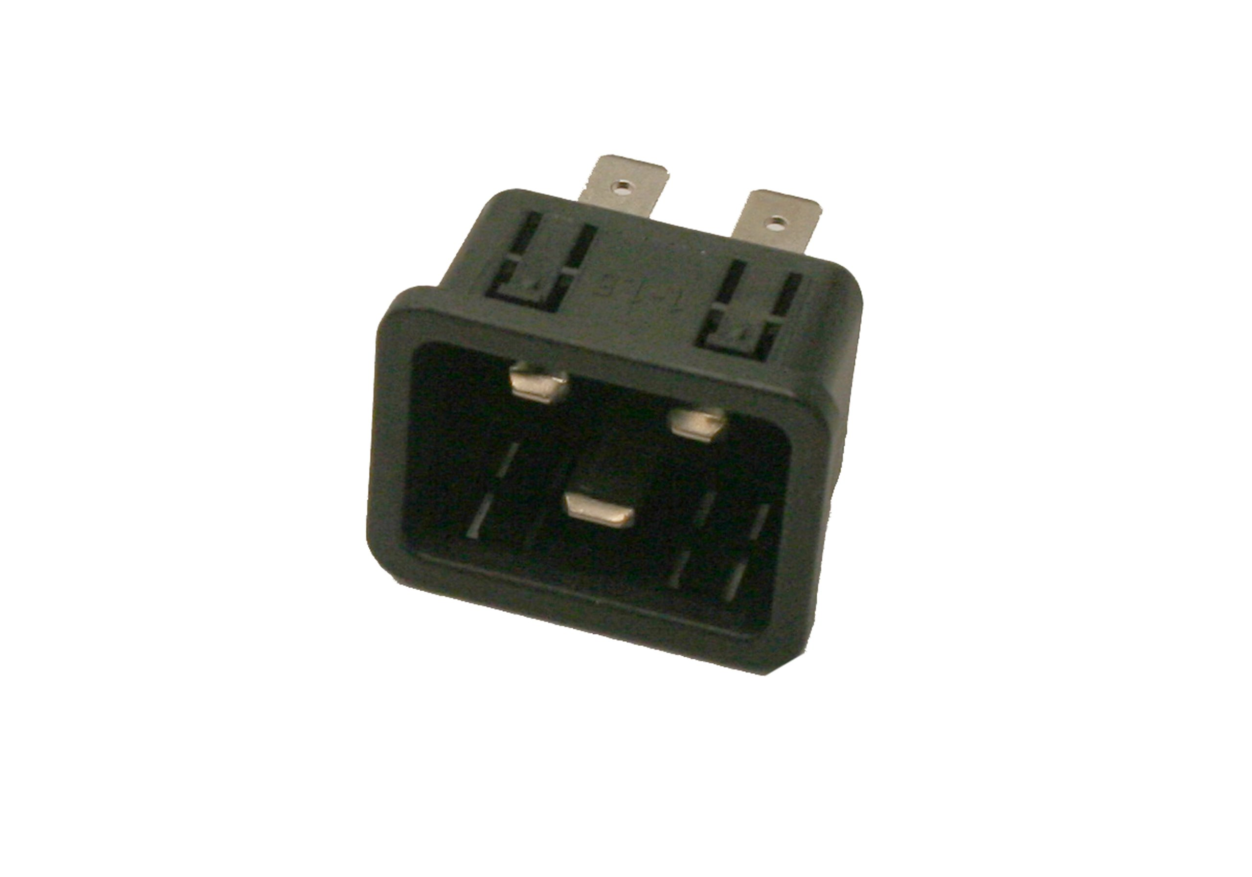 Interpower 83030420 IEC 60320 C20 Power Inlet With Quick Disconnects, IEC 60320 C20 Socket Type, 1-1.5mm/18 Gauge Panel Thickness, Black, 16A/20A Rating, 250VAC Rating by Interpower