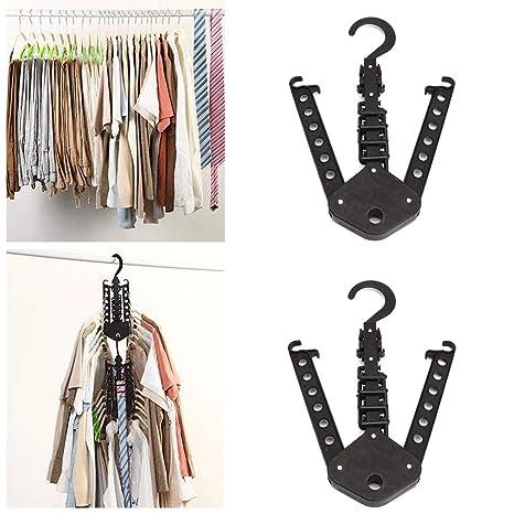 Percha Plegable, Percha de viaje portátil Perchero Rack, Multifunción Ropa Camisa Pantalón Armario Armario Lavandería Organizador (2packs)