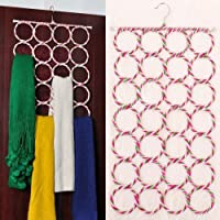 OxbOw 28 Slots Scarf/Dupatta Hanger Organiser Multi Purpose Rings Round Rope Foldable for Wardrobe Dupatta Belt Tie Scarf Holder (72 x 36 cm)