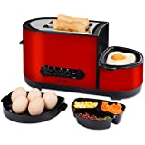 LATITOP 2-Slice Wide Slot Toaster with Egg Cooker, Fry Egg, Poach Egg, Steam Egg, Defrost/Reheat/Cancel Function, Removable Crumb Tray, Shade Setting, Stainless Steel Housing, Cool Touch, 1050W, Red