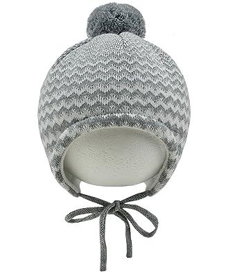 MaxiMo Mütze Strickmütze Bindemütze Lila Gestreift Winter Baumwolle Gr.39,41,43