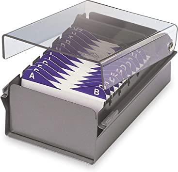 Acrimet Index Business Card Size File Holder Organizer Metal Base Heavy Duty White Color with Crystal Plastic Lid Cover