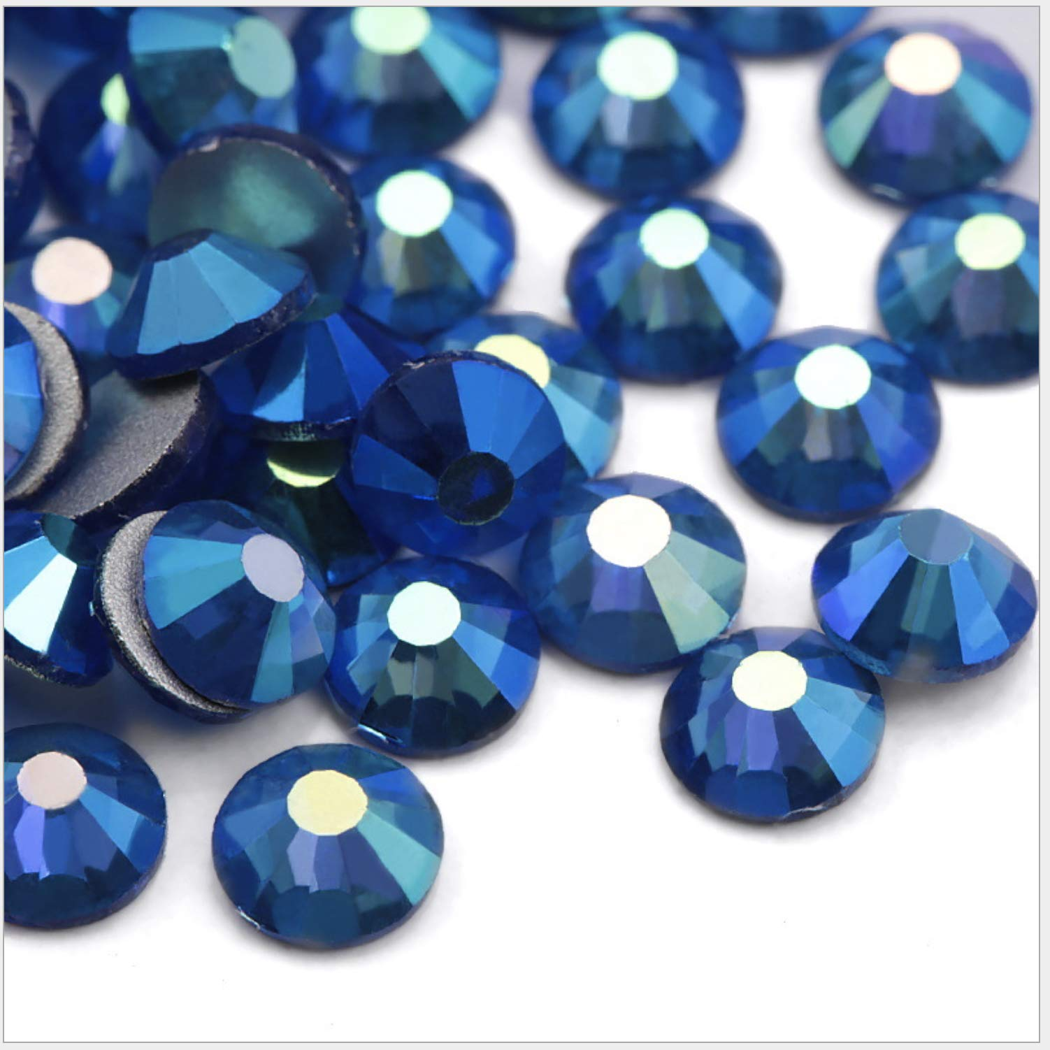 Crystal AB/Crystal Flatback Glass Rhinestones Glue Fix (ss20 (4.8mm) 1440 pcs, Blue AB) by GreatDeal68