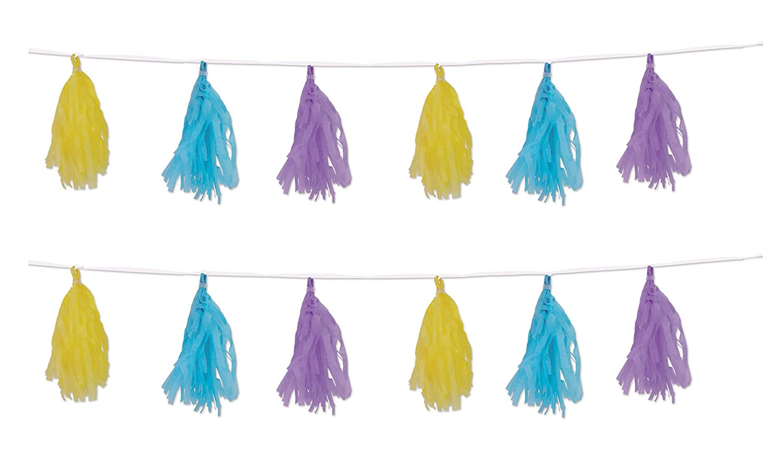 Yellow//Light Blue//Lavender Beistle 59991-PSTL 9.75 x 8 2 Piece Tissue Tassel Garlands
