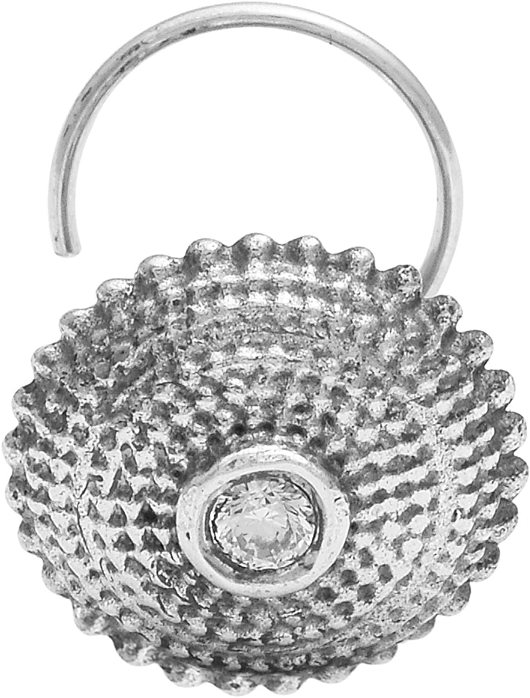 Shine Jewel Oxidized 925 Sterling Silver Ladies Body Piercing Nose Pin CZ