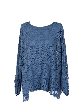 ad2ad2282d New Ladies Italian Two Layered Crochet Tunic Top Women Lagenlook Top Plus  Sizes (Denim)  Amazon.co.uk  Clothing