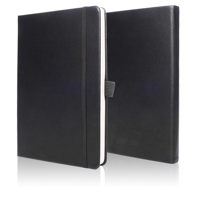 Dotted Bullet Gazzetta diario notebook–Scrilibro–Bujo con portapenne–120g/mq. Formato A5con confezione regalo, 2tasca interna, nastro segnalibro. Scatola regalo inclusa. Nero Perfect Peace Company