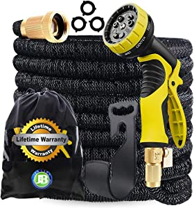J&B XpandaHose 50ft Expandable Garden Hose with Holder - Heavy Duty Superior Strength 3750D - 4 -Layer Latex Core - Extra Strong Brass Connectors and 10 Spray Nozzle w/Storage Bag (Black 50)