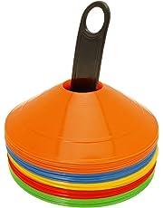 CampTeck U6859 Confezione da 50 Pezzi Coni Allenamento Coni Sport Plastica Mini Cono Segnalatore Spaziale Calcio, Agilità, Sport, Bambini, Circuiti, ecc - Con Maniglia da Trasporto