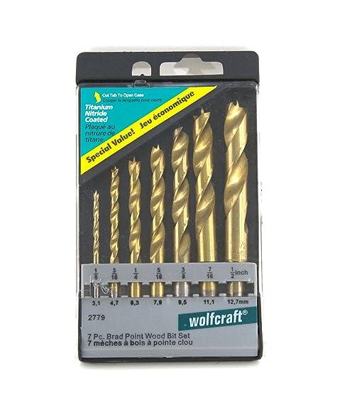 brad point drill bit set. wolfcraft 2779405 titanium coated brad point drill bit set, 7 pieces set a