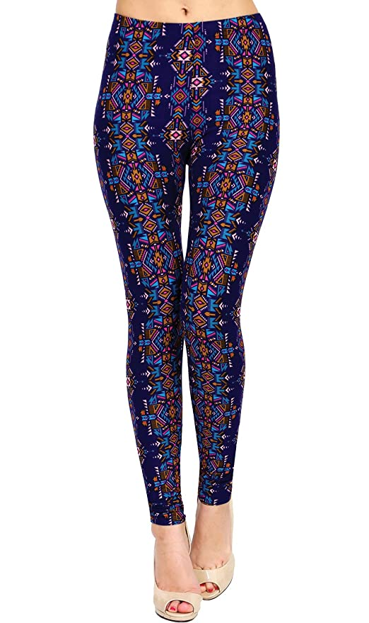 007c25e81dbb1 VIV Collection Plus Size Printed Brushed Leggings (Ritual Richness) at Amazon  Women's Clothing store: