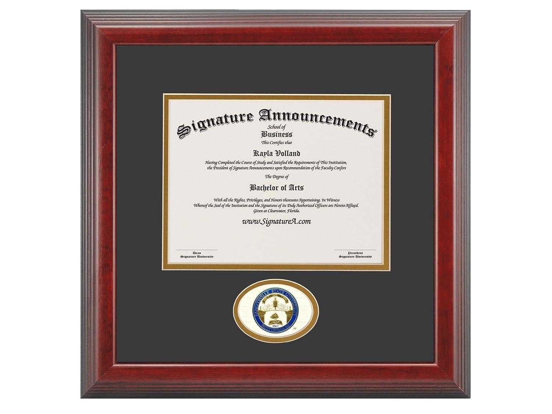 Signature Announcements Fayetteville-State-University Undergraduate Sculpted Foil Seal Graduation Diploma Frame 16 x 16 Cherry
