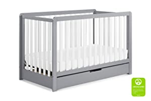 Carter's by Davinci Colby 4-in-1 Convertible Crib with Trundle Drawer in Grey and White | Greenguard Gold Certified