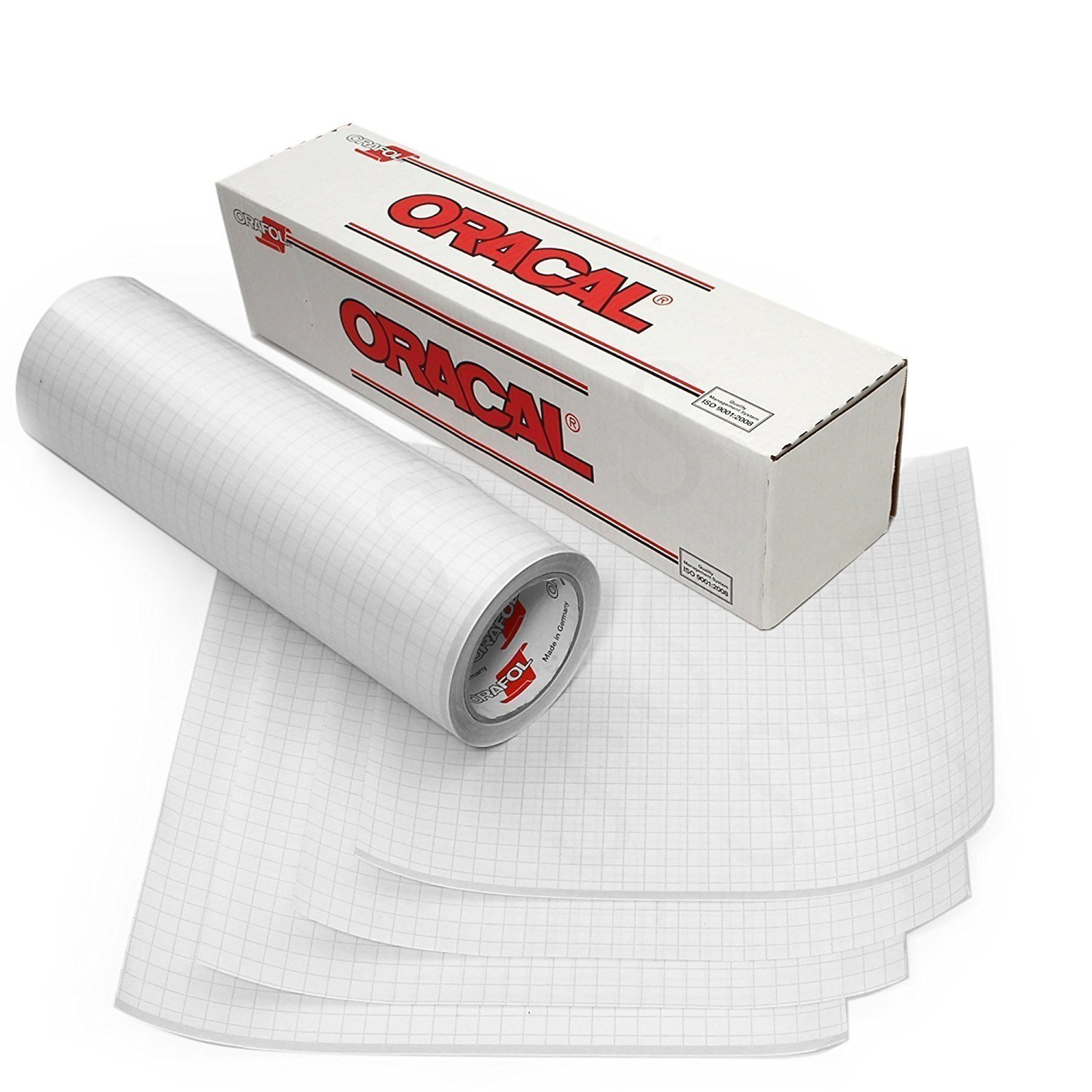 Oracal 12'' X 25' Feet Roll Clear Transfer Tape w/Grid for Adhesive Vinyl | Vinyl Transfer Tape for Cricut, Silhouette, Cameo. Application Paper Transfer Tape Rolls