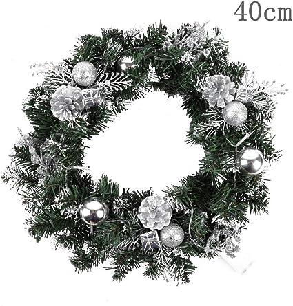 Ghirlande di Natale Porta Finestra Appeso a Parete Ornamenti Ghirlanda Ideale per la Decorazione Interna ed Esterna ZWPARTS Ghirlanda Porta dingresso di Natale 40cm