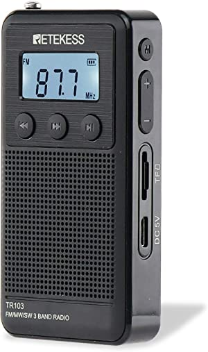 Retekess TR103 AM FM SW Pocket Radio, Personal Portable Radio with Backlight, Rechargeable Radio Support TF Card, Loud Speaker and Manual Tuning (Black)
