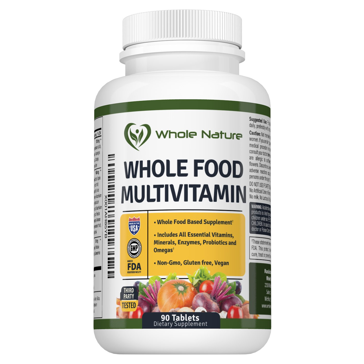 WHOLE NATURE Whole Food Multivitamin All Essential Vitamins and Minerals plus Digestive Enzymes, Probiotics and Omegas. For Men and Women. Non GMO