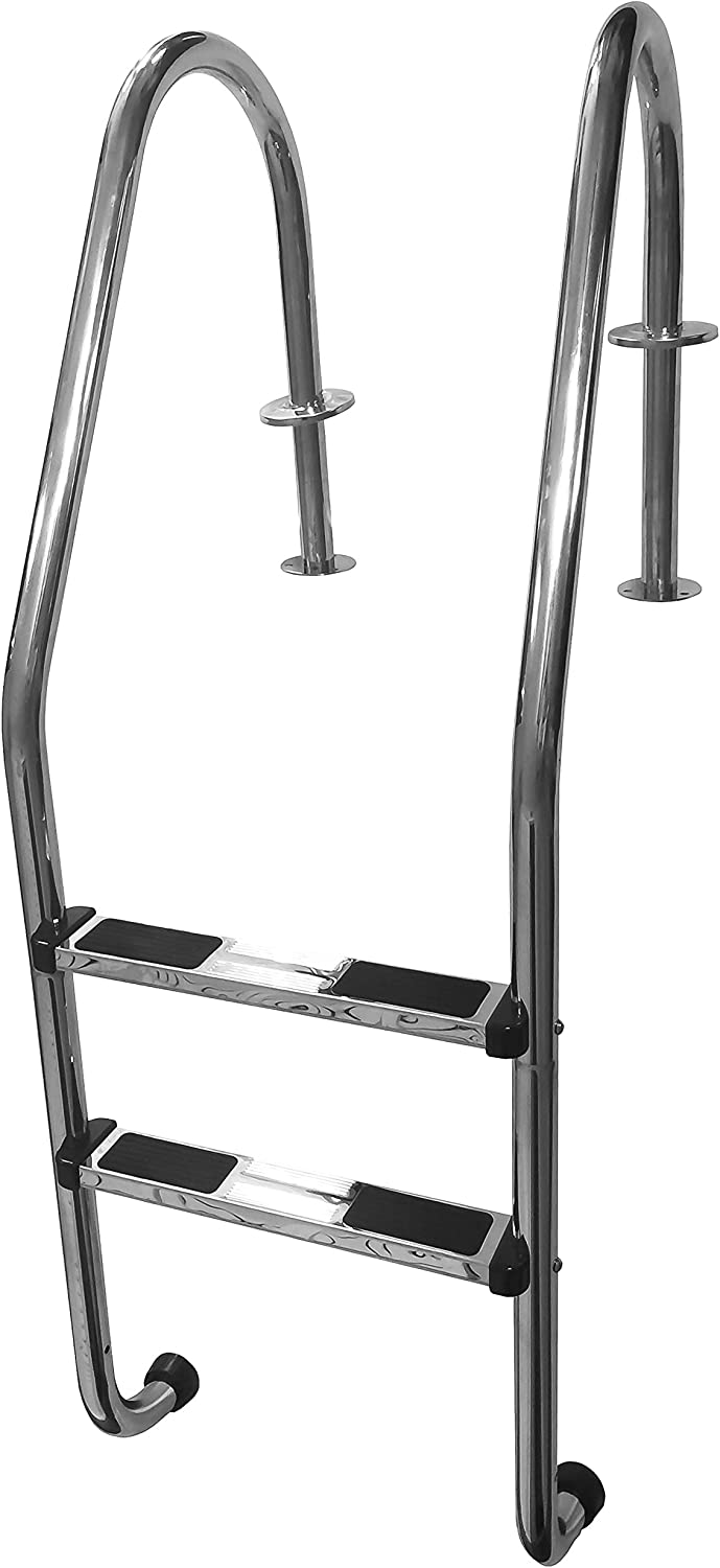 FibroPRO Stainless Steel In Ground Swimming Pool Ladder with Easy Mount Legs (2 Step)
