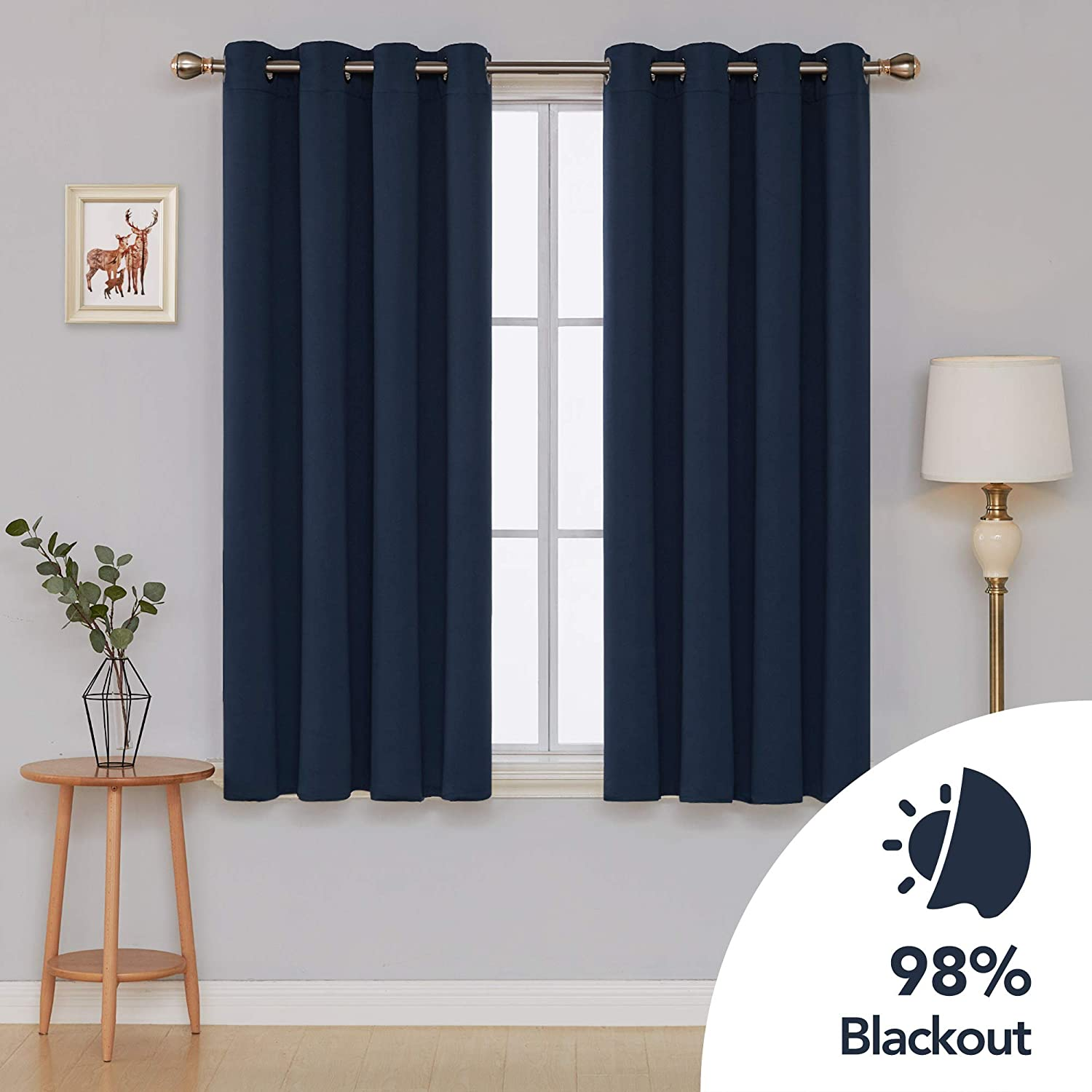 Deconovo Blackout Curtains Grommet Curtains Thermal Insulated Blackout Curtain Room Darkening Curtains for Bedroom 52 x 45 Inch Light Grayish White 2 Panels