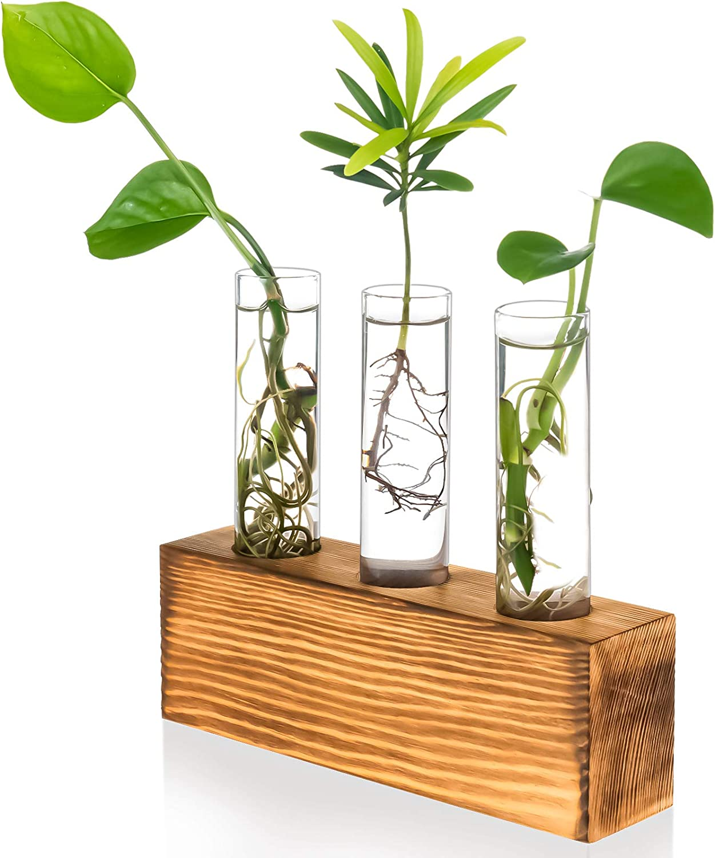 Kingbuy 3 Crystal Glass Test Tube Holder in Wooden Stand Flower Vase Pots Propagation Station for Hydroponic Plants Home Garden Decoration,Brown Wood. (Rectangular Wooden Frame)