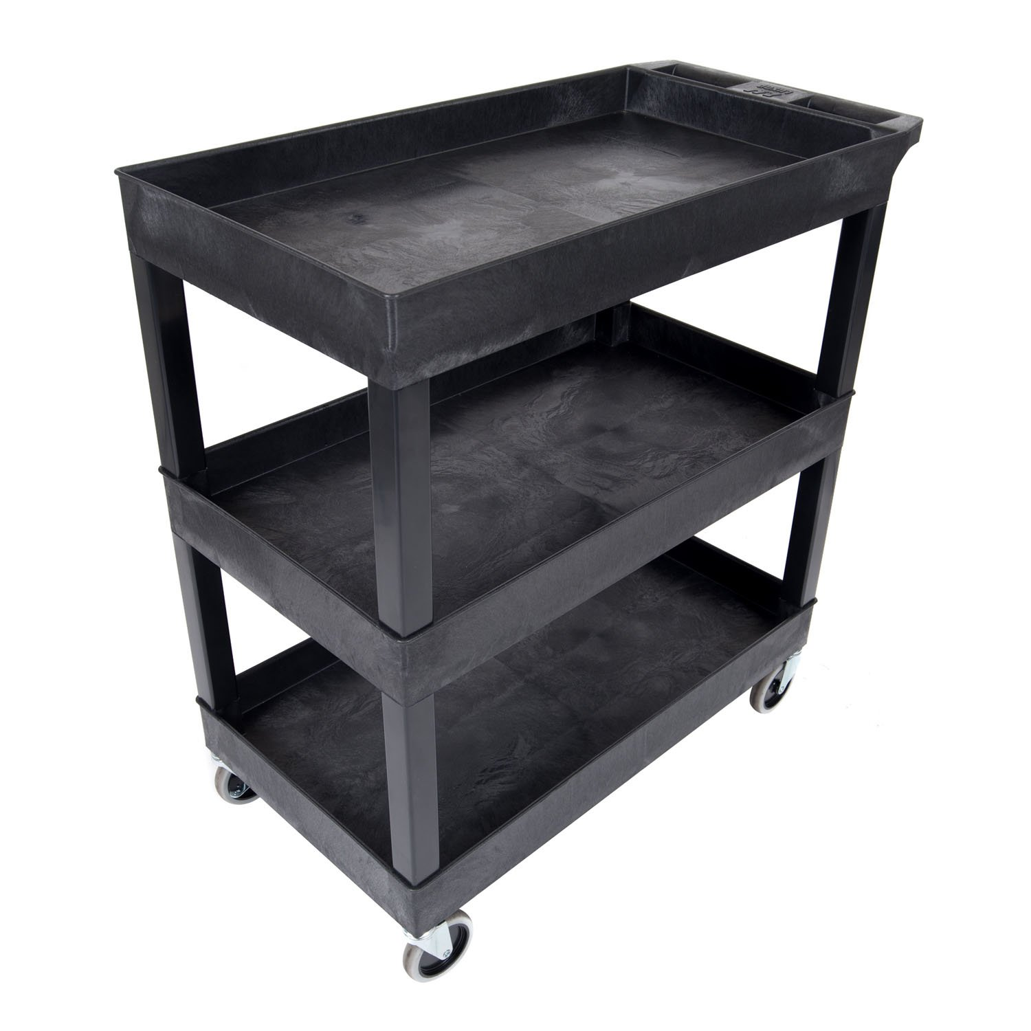Luxor EC111-B Tub Storage Cart 3 Shelves - Black,32'' x 18''