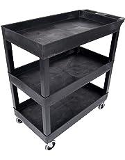 """Luxor EC111-B Tub Storage Cart 3 Shelves - Black,32"""" x 18"""""""