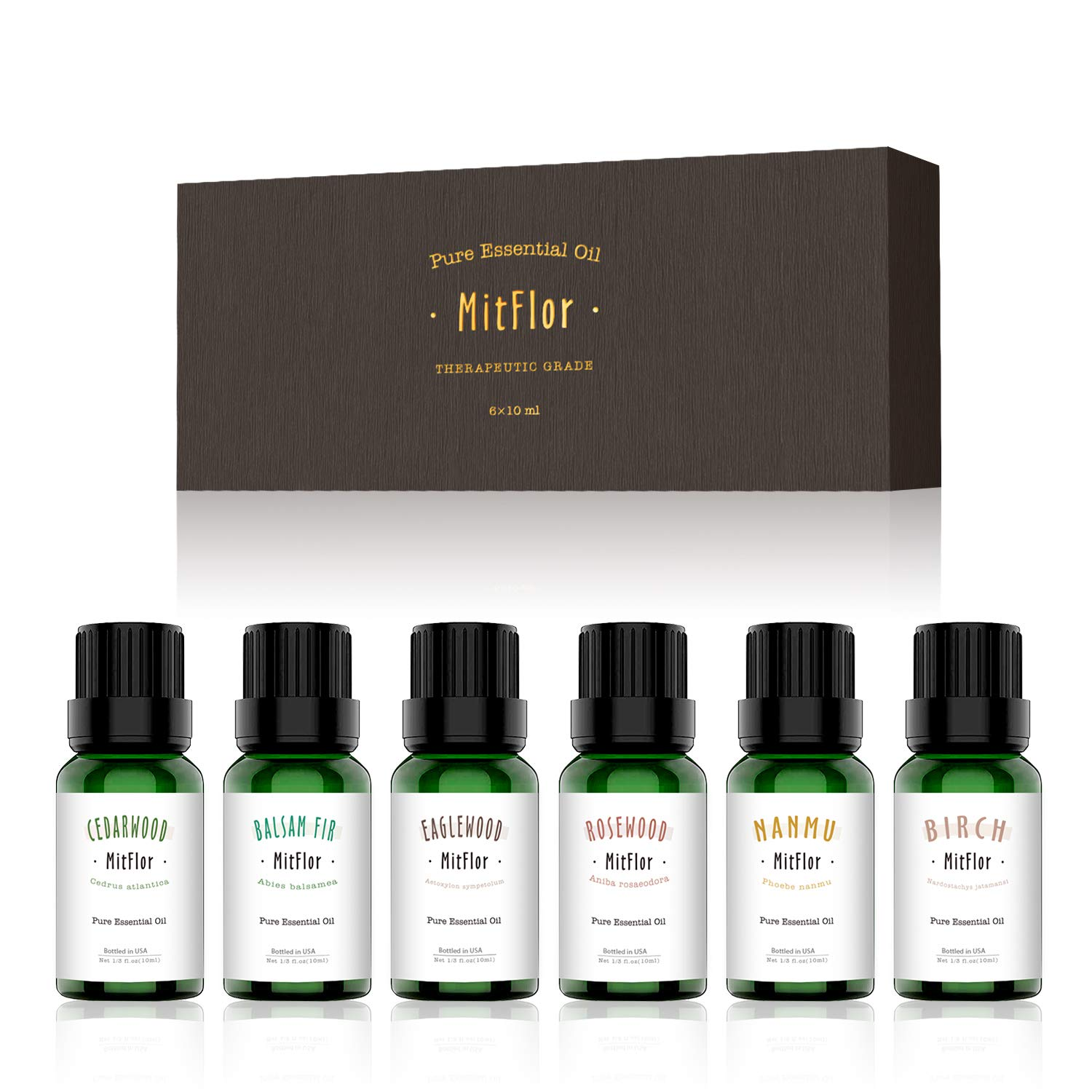 Woody Essential Oils Set, MitFlor 100% Pure Organic Aromatherapy Therapeutic Woody Oils Kit Gift for Diffuser Massage. Cedarwood, Birch, Balsam fir, Rosewood, Eaglewood, Nanmu essential oils, 6×10ml