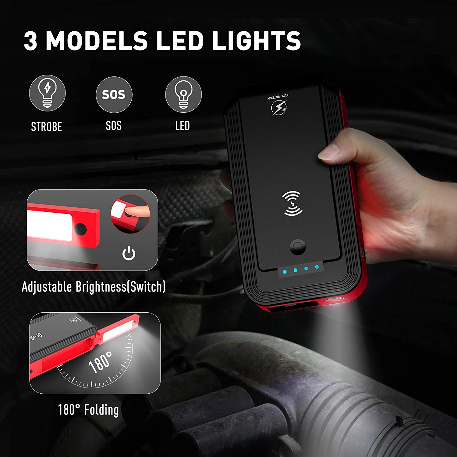 8.0 Gas or 6.0L Diesel 12-16V//10A DC Outlet /& 10W Wirelss Charger,Rotatable LED Flashlight,Strong Magnetic,Type-C Input Car Jump Starter,FLYLINKTECH 18000mAh 1500A Peak 12V Car Battery Booster