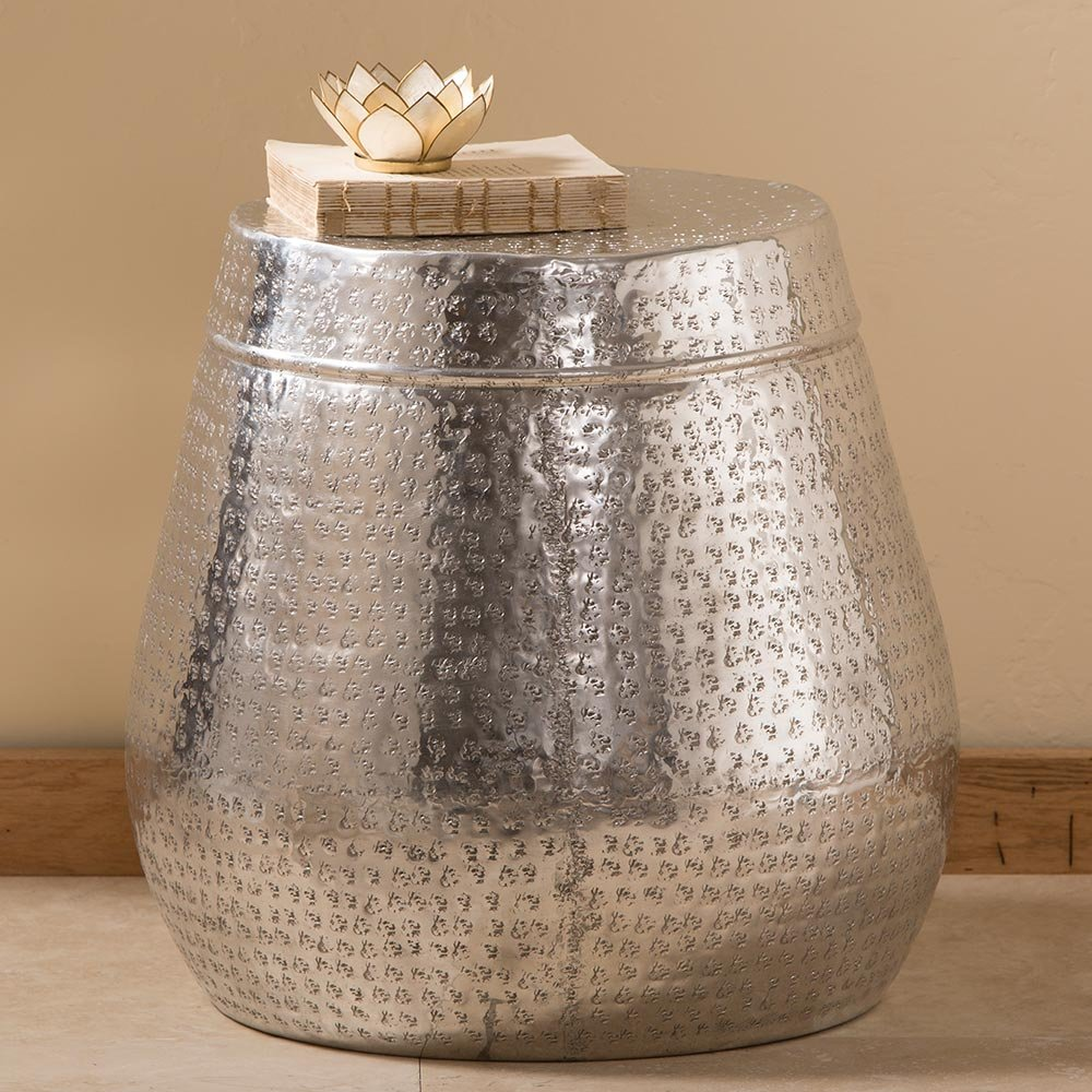 Tall Dimpled Silver Drum Side Table