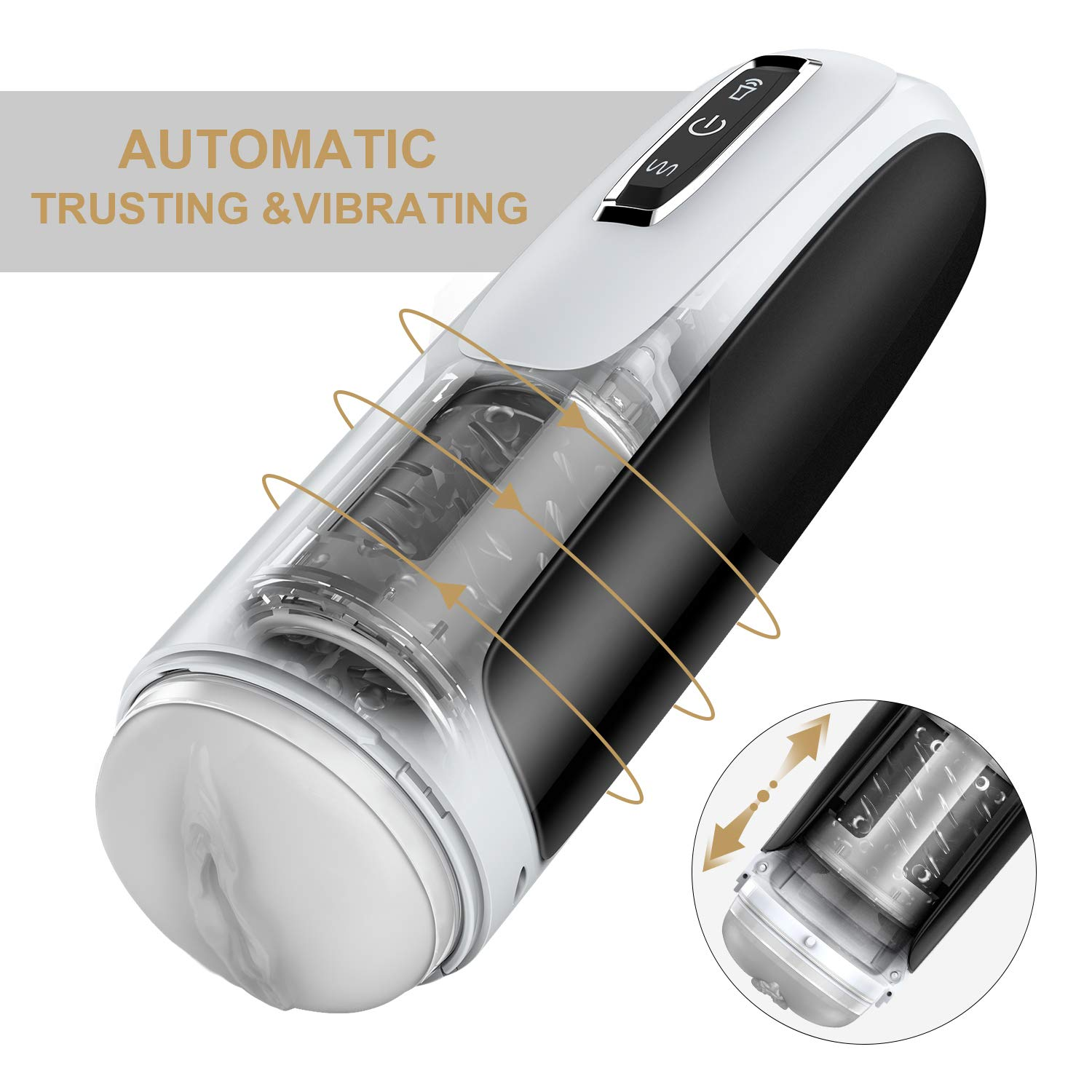 Male Masturbator Cup-Automatic Men Masturbation with 10 Powerful Thrusting&Rotating Modes, Hands Free-Stroker Featured 3D Texture Vagina Pocket Pussy Sex Toys for Man Orgasm by Allovers