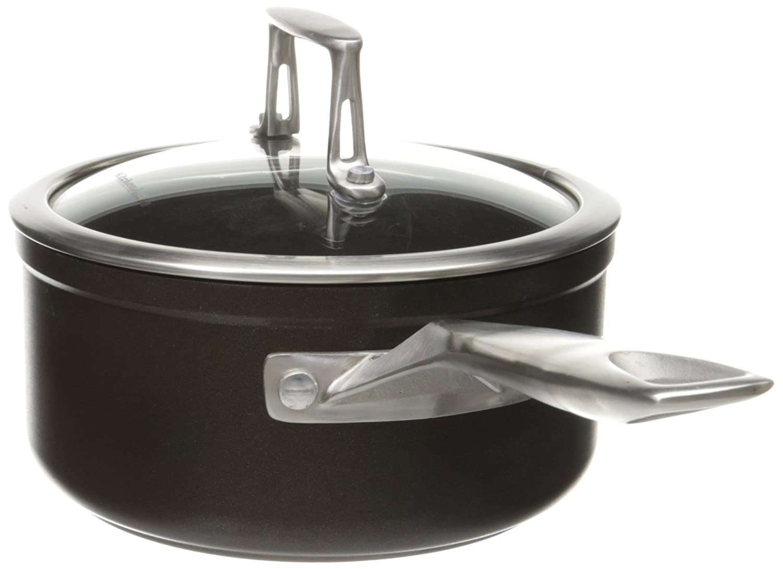 KitchenAid KCH215PLKM Professional Hard Anodized Nonstick 1.5-Quart Saucepan with Lid Cookware - Black