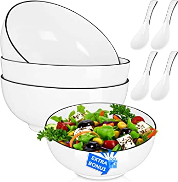 Salad Soup 3-Pack-60 Oz Super Large Stackable Round White Fine 8 inch