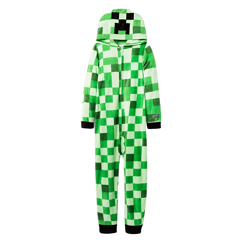 AME Minecraft Mojang Boy's Mob Creeper Fleece Hooded Union Suit Pajama Sleeper