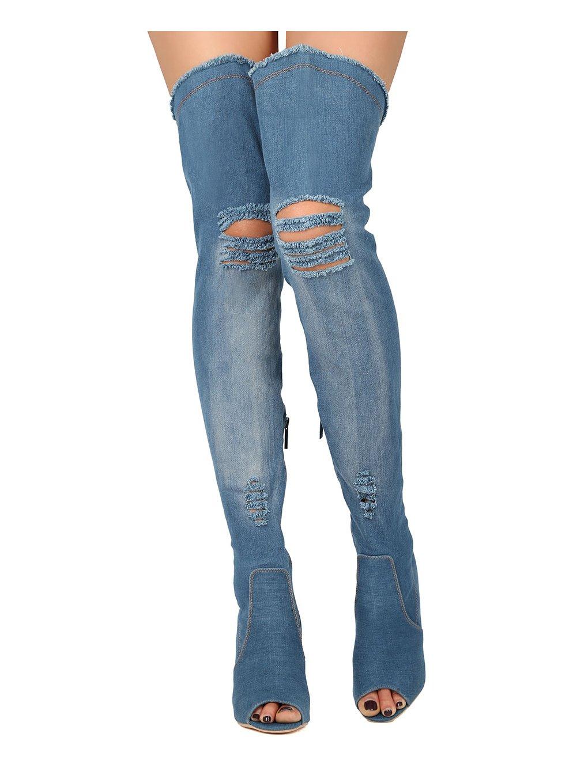 ed01627c38a52 Alrisco Women Distressed Denim Peep Toe Thigh High Stiletto Boot ...