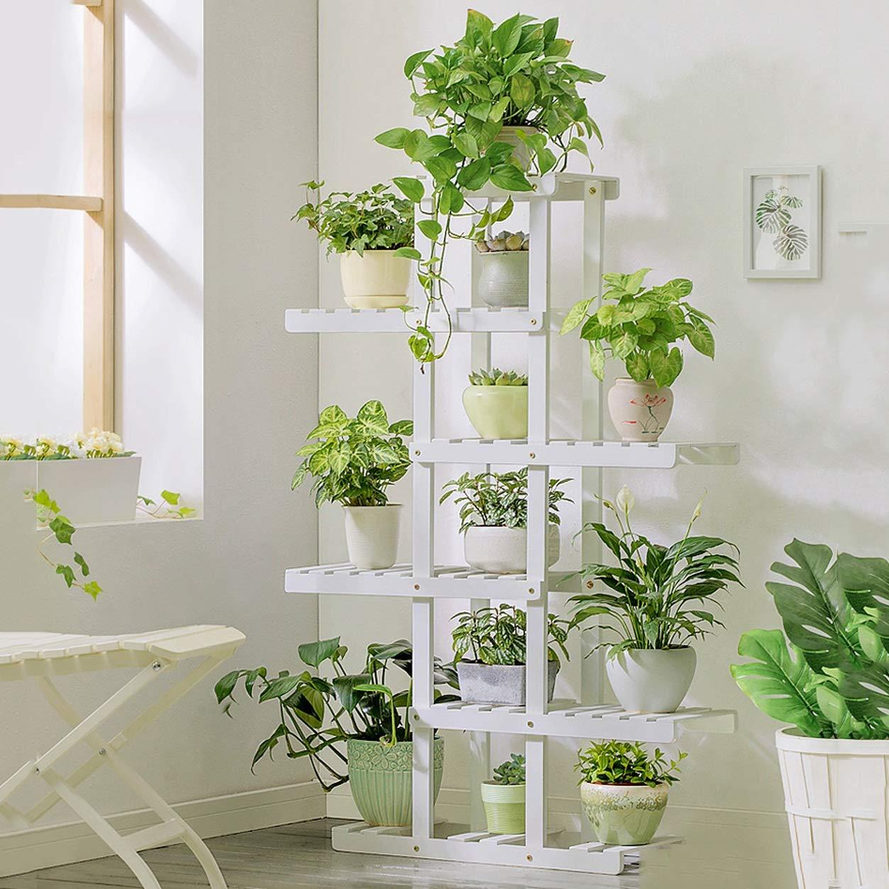 LRW Wooden Flower Rack, Green Lounge, Multi Floor Flower Pots, Balcony, Living Room, Flower Rack, 5 Storey. (Color : White)