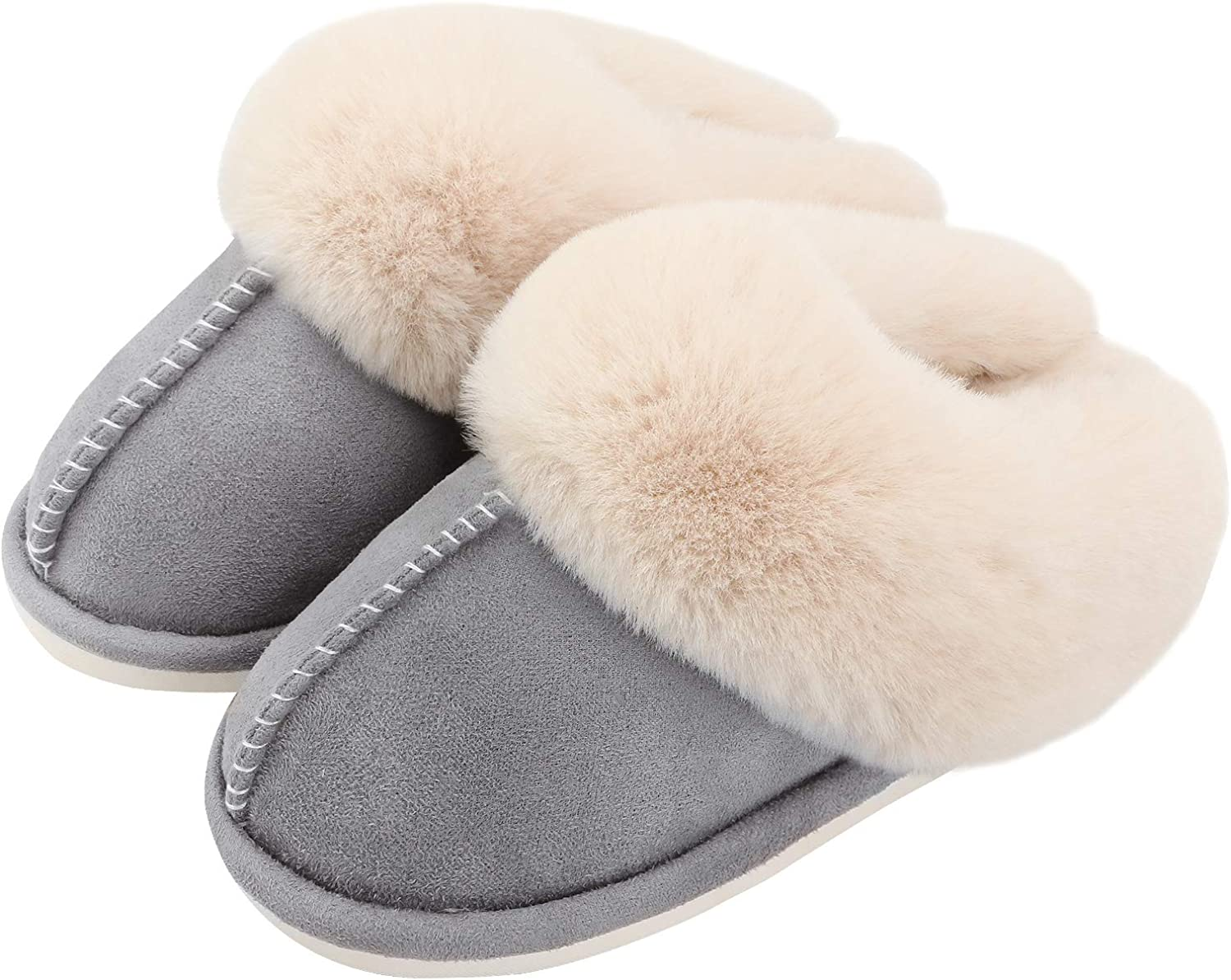 Ladies Womens Slippers Mule Slip On Fluffy Furry Comfy Cosy Indoor Shoes Size UK